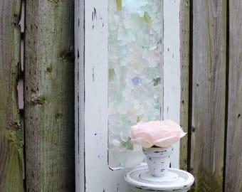 Coastal Cottage Vintage Candlestick Wall Sconce, Beach House Decor , Seaglass Art , Beach Style