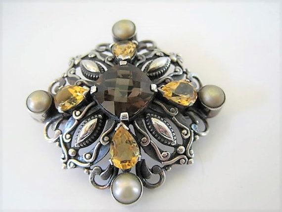 Sterling Topaz Brooch, Pearl Enhanced, Signed NDA, Vintage 925 Pin