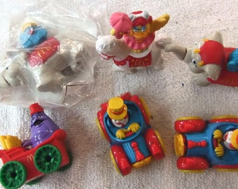 Vintage McDonald's Happy Meal Vintage Toy / Cake Topper Set 1991  4 pc Circus Parade Toy / Cake Topper Set