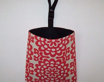 Car Litter Bag // New Stay Open Design !// Auto Litter Bag // Auto Trash Bag  // Amy Butler Wall Flower - Cherry Red