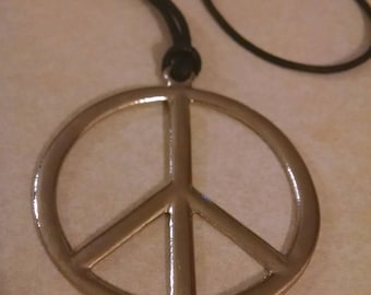 Large Peace Sign Pendant Necklace, Gifts Under 20.00, Gift for Anyone, Accessories,Big Pendant Necklace, Silver Peace Sign Necklace, Jewelry