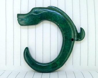 Antiqued Green Jade Pendant Carved Dragon Loong Antique Design Talisman