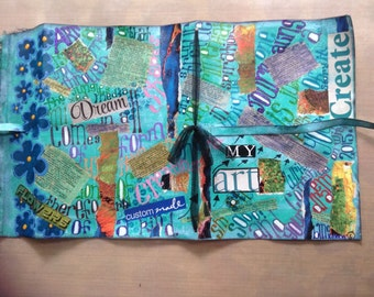 Art Journal mixed media canvas cover with signature and canvas cover ties. OOAK