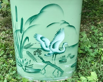 Vintage Trash Can Heron Swan Painting Weibro Chicago Illinois Antique Tin Garbage Can