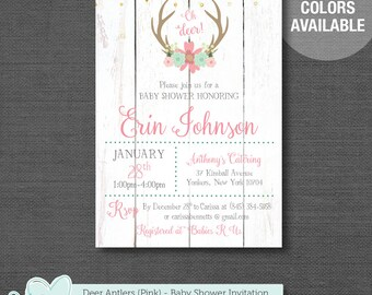 Deer Antlers Baby Shower Invitation Printable Pink, Girl, Baby Shower Invite, Oh Deer, Wood, 6D