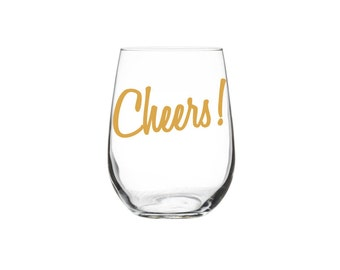 Gold Cheers! WINE Glasses SINGLE screen printed Stemless Wine Glass