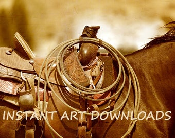 Horse saddle, Rodeo pictures, Cowboy art, Digital Download, Equine Printables, Horse pictures, Saddle Photography, Sepia Western Art, Horse