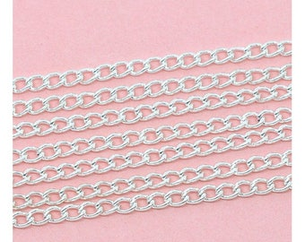 10 m silver 4x3mm curved mesh chain
