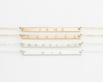 Modern Namesake Bar Necklace, Custom Nameplate, 14k Gold Filled, Silver, or Rose Gold Filled Bar Necklace / GLDN Bar Necklace, TURRELL