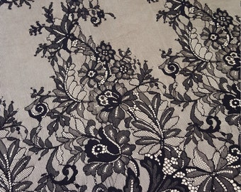 Black chantilly Lace fabric, Wedding lace, spitze stoff, black chantilly lace fabric, flower pattern, french  M000063