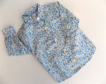 boy top clothing, shirt, blue, cotton, embroidered, hand printed, liberty, baby shirt, 6 months, 12 months baby boy, shirt floral, handmade