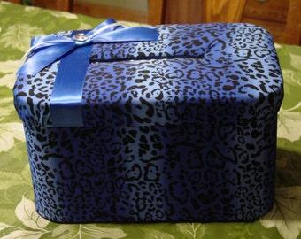 Blue Cheetah Print Wedding Card box