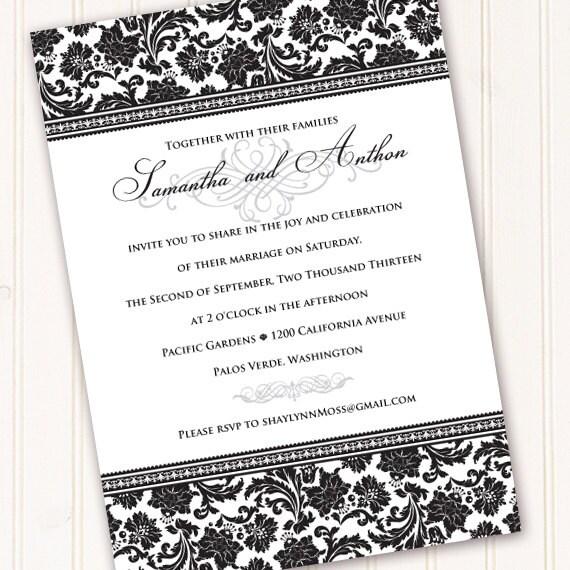 Wedding Invitations, Formal Wedding Invitations, Wedding Invitation And Rsvp,  Bridal Shower Invitations, Black Tie Event, IN210