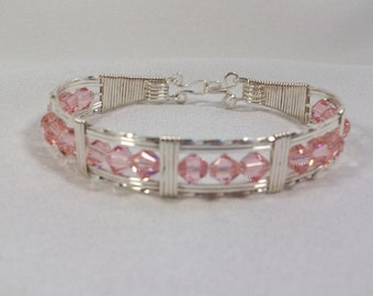 Wire Wrapped Bracelet, Sterling Silver .925 Wire, 18 - Swarovski Lite Rose 6 mm Crystals, Handmade - 50007