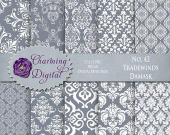 Gray Damask Digital Paper, Gray Scrapbooking Digital Paper, No. 42 Tradewinds