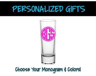 Monogram Shot Glass Shooter - Monogram Shot Glass - Customized Barware - Personalized Shot Glass