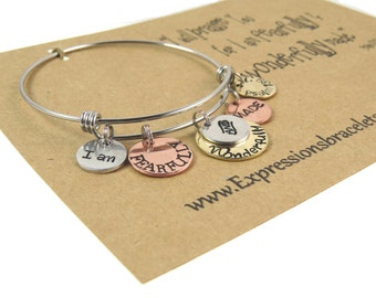 Gifts For Her - Fearfully and Wonderfully Made - Hand Stamped Bangle Bracelet - Gift Jewelry - Ready to Ship - expressions bracelets