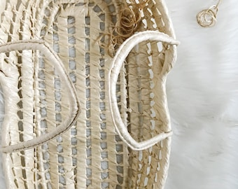 Doll Moses basket, woven baby toy bed