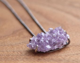 Amethyst Crystal Cluster Necklace, Small