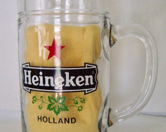 Vintage HEINEKEN Beer Stein Tankard Mug - Heavy Holds 36 ounces or 1 Liter