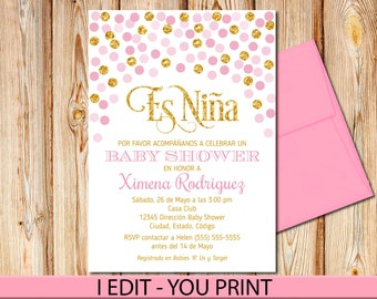 """SPANISH Pink and Gold Baby Shower Invitation, Girl, Baby shower Invite, Baby Girl, Printable, 5""""x7"""""""