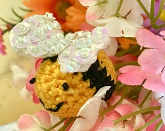 3 Shabby Beaded PlushBumble bee, Cotton  favors, Crochet Beaded Bee's, Party Favors, Mothers Day, Beautiful Accents