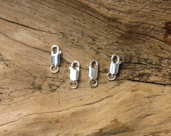 Lobster Clasps - Sterling Silver - Lobster Box Clasp - With Ring - 4x12mm - 4 Pieces