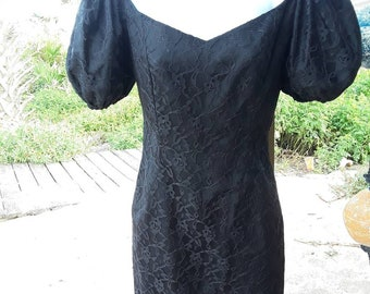Black  lace 80s dress, vintage 80s dress, size small xsmall
