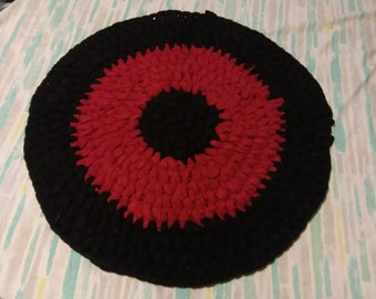 Red and Black Plush Rug