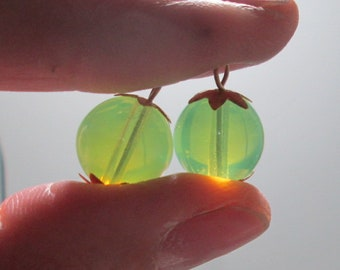 2 Vintage Green Opaline Glass Charms, Component