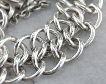 Heavy Chain Sterling Silver Bracelet, Mexican Silver W6F6N7CD-C