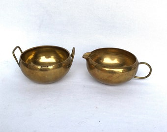Vintage BRASS CREAM and SUGAR Set