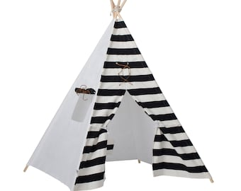 """Kids Black and White Stripe Teepee """"Bowie"""""""