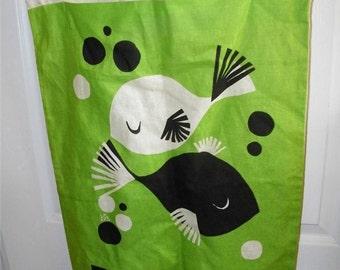 Vintage Green Linen Pisces Laundry Bag 11643