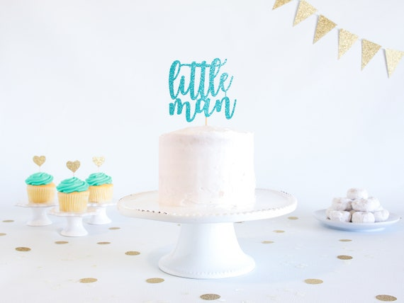 Little Man Cake Topper - Glitter - 1st Birthday. Smash Cake Topper. Birthday Party. First Birthday Boy. Cake Topper Boy. 1st Birthday Decor.