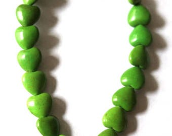 Green Turquoise Magnesite Heart Beads