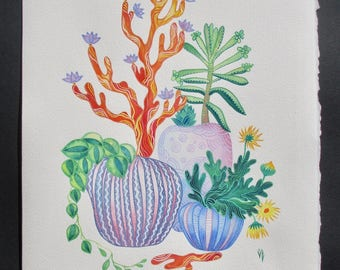 """ORIGINAL WatercolorPainting/ Succulent Art 11""""x14"""" by Olena Baca/ Desert/ Gift for Her/Mother gift/Birthday Gift/Green Wall Art/ Gift idea"""