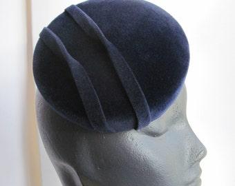 Cocktail Hat Womens Midnight Blue Velour
