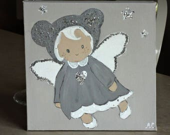 painting Angel for baby room decor, children.