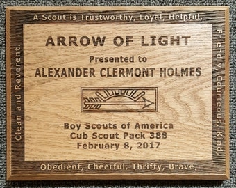 """Arrow of Light - Cub Scout award - Free shipping - 6""""x8"""" American Red Oak made in USA wall plaque"""
