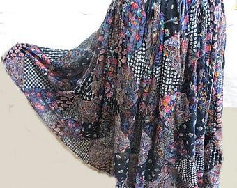 Vintage 1970 Indian Cotton Gauze Hippie Skirt   #590