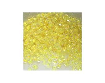 11/0 Yellow Lined Clear Seed Beads 5gm