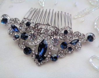 Vintage style rhinestone bridal hair comb sapphire blue silver wedding 1920's 1930's bridesmaid edwardian art deco