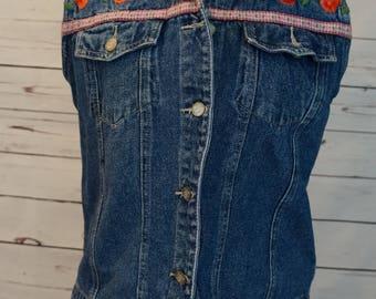 Vintage Jean Vest with Roses