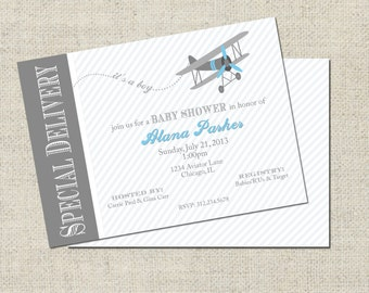 Airplane Baby Shower Invitation, Printable Airplane Invitation, Personalized Baby Shower