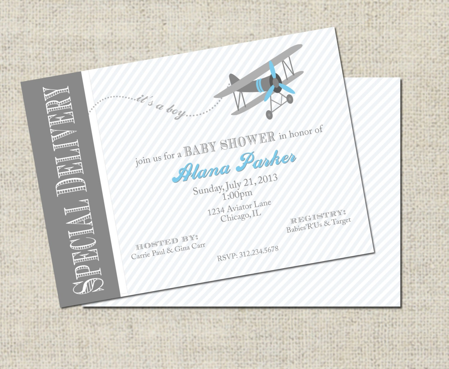 Airplane Baby Shower Invitation Printable Airplane