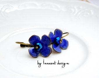 Forgetmenot- blue - enamel earrings - flower