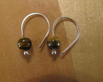 Tiger's Eye and  Sterling Silver Earrings- Dangle Earrings-Drop EarringsHandmade/Hand Forged-ToniRaeCreations