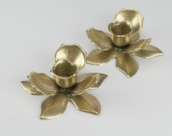 2 Brass Flower Candlestick Holder