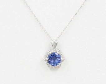 Tanzanite Diamond Necklace.0.16 ct High Quality Diamond & 7mm AAA Natural Tanzanite.Slide Pendant.14k White Gold Necklace.Simple Necklace